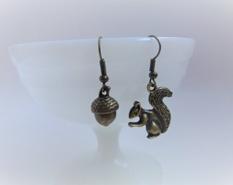 Nut job, funny squirrel and acorn earrings, fun jewelry, nature jewelry, wood creatures jewelry, animal jewelry...
