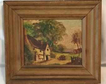 Antique Framed Landscape Oil Painting L J Houston