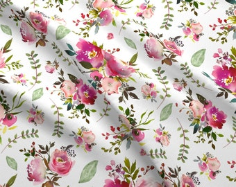 Peony & Rose Watercolor Floral Fabric by the Yard Pink Flowers Spring Summer Floral Cotton Fabric by the Yard Floral Knit