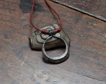 Moon Pendant, hand Forged pure iron pendant