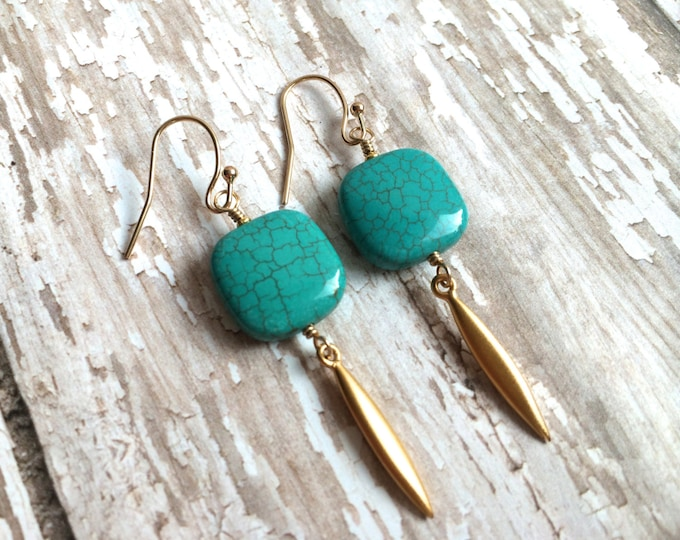 Turquoise and Gold Spike Dangle Earrings