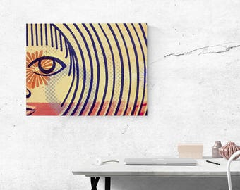 Yellow canvas wall art minimalist face modern women art abstract yellow red art feminine home decor canvas art wall decor living room decor