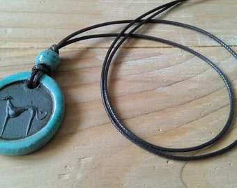 Small greyhound pendant / Unique ceramic necklace / Greyhound necklace / Whippet necklace / Sighthound jewelry / Animal pendant / Greyhound