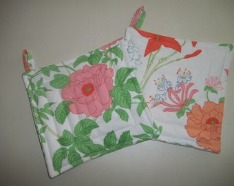Pot Holder Set of 2 Orange Floral Shabby Chic Hot Pad