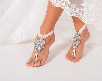Bridal barefoot sandals, Crystal foot jewelry, Rhinestone barefoot sandal, Wedding Shoe clips, Beach wedding, Footless sandal, Gift for her