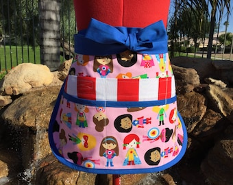 Superhero Kids Teacher Half Apron, Wonder Girls Sassy Vendor Apron, 6/8 pockets, Regular and Plus Sizes, great for Teacher Gifts, Gardening
