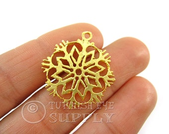 5 Pc Snowflake Pendant, Gold Snowflake Charms, 22K Gold Plated Snowflake Findings, Turkish Jewelry