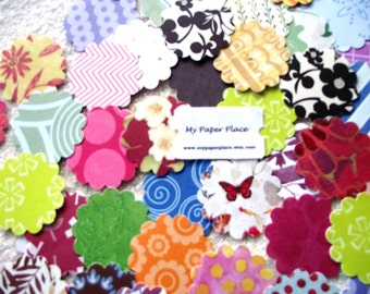 100 - Assorted  2 Inch Scalloped  Cardstock Circles/Die Cuts/Punchies/Embellishments - Free Secondary Shipping