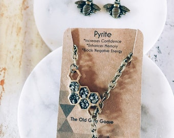 Pyrite Bee Hive and Bee Lariat - Crushed Gemstone Jewelry - Honeycomb Necklace - May Birthday Present - The Old Gray Goose