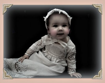 Baby baptism dress, baptism gown, baby christening dress , lace baptism dress, lace gown , Heirloom embroidery ,  monogramand ,  Bonnet  set