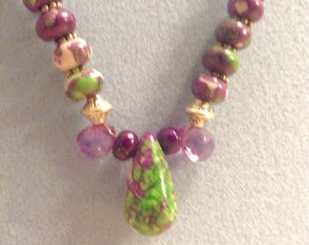 Ruby Zoisite and Amethyst Beaded  Necklace