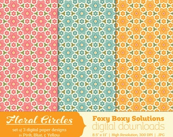Floral Circles Pattern Digital Paper Pack set of 3 Digital Papers for Scrapbooking/Card Making/Crafting, Instant Download