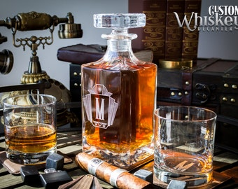 Groomsmen Gift, Whiskey Decanter, Engraved Whiskey Decanter, Personalized Decanter Set With 2 Glasses,  Wedding Gift, Gift For Men
