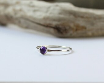 Amethyst Ring - Dainty Silver Stack Ring - Petite Stacking Ring - Birthstone Gift for Girlfriend - Slim Purple Ring - Minimalist Jewellery