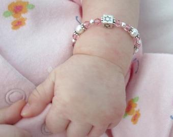 Bracelet Baby Naming Star of David bracelet Swarovski crystal pearl CUSTOMIZE Keepsake newborn infant religious ceremony Jewish shower gift