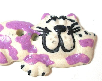 LG Ceramic happy  CAT Button, Handmade Cheshire kitty with purple stripes, 1 5/8""