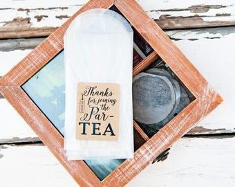 Party Favor Tea Bags - Par TEA - Bags and stickers - DIY Favor Project - tea bag, tea party, winter, alice wonderland - 20 envelopes
