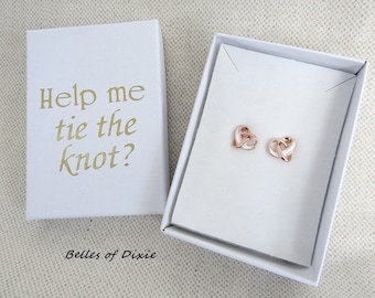Rose Gold 18K Goldplate Wedding Knot Earrings Will You Help Me Tie the Knot EARRING & box Be my Maid of Honor Ask Bridesmaids Proposal Gift