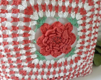 Vintage Pillow Red White Crocheted Rose Center Checked look Variegated Cottage Farmhouse Decorative Pillow Accent Pillow