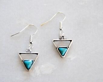 Turquoise Triangle Earrings, Boho Earrings, Silver Earrings, Silver Triangle Earrings, Gift for her, Birthday gift, Gift for women