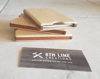 Wood card holder, Business Card Case , pocket card holder, Maple, Small, business cards, gift idea