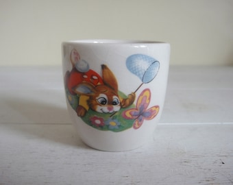 Vintage Easter Bunny Egg Cup, Rabbit Egg Cup, Easter, Egg Cup, Bunnies, Rabbits, Breakfast, Kitchen, Dining.