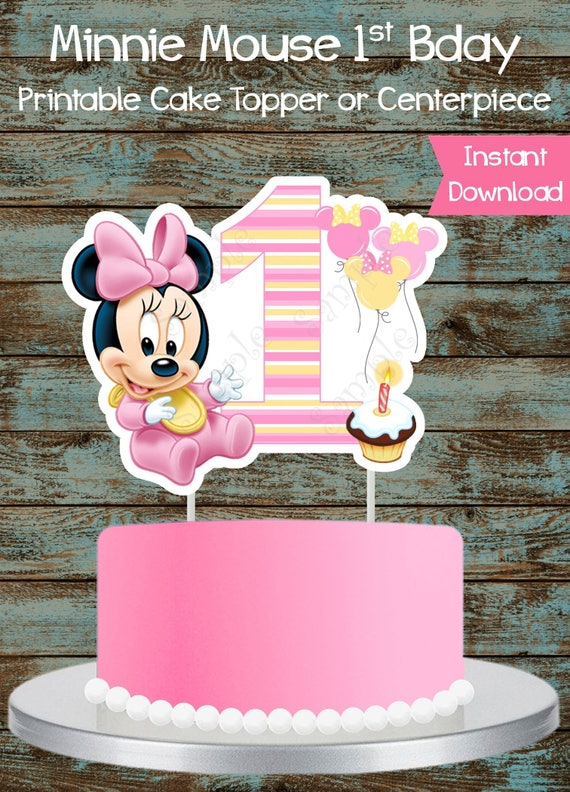 Baby Minnie Mouse 1st Birthday Printable Cake Topper Baby