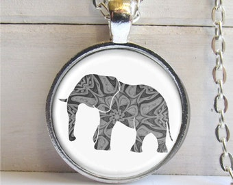 Elephant Necklace, Art Pendant, Elephant Jewelry, Elephant Lovers Gift