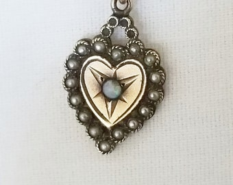 Vintage Silver, Opal and Pearl Heart Necklace