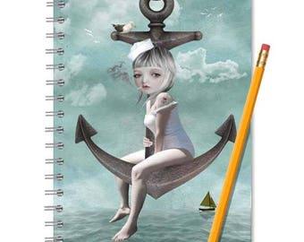 A5 Notebook | Writing Journal | Sailor girl & anchor | Sketchbook | Spiral notebook | Journal notebook | Travel Journal