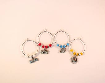 Hope, Love, Joy, Flower Wine Charms / Drink Markers / Wine Glass Jewelry / Hippie Inspired / Hostess Add-On Gift / Bar Accessories / Fun