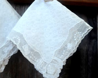 Set of 2 Vintage Chinese Handkerchiefs, White Lace Border, Linen Hankies, Never Used, circa 1950s