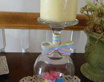 Wine Glass Candle Holder /Easter Wine Glass Candle Holder / Candle Holder / Easter Candle Holder / Easter table Decor / Easter