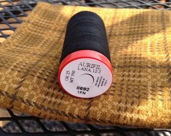 "WOOL THREAD: Aurifil Lana 12wt Thread (wool/acrylic blend) -""BLACK"""