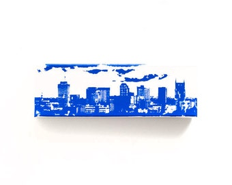 Nashville Skyline Canvas (12 x 4 inches, White with Blue) Cityscape Screen Print and Painting Home Decor