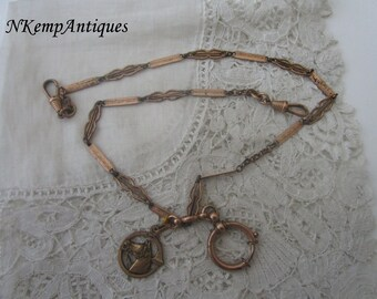 Antique watch chain and fob 1910 equestrian