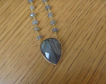 gold Necklace with labradorite and labradortie beaded