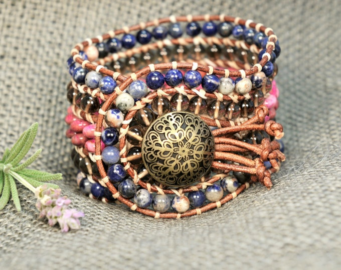 Louiza * 5 strand Statement Wrap Bracelet. Boho Style. Bohemian Jewelry. Semiprecious stones. Gift for her. Unique Design.