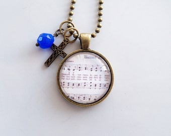 Hymn Necklace - Blessed Assurance Jesus Is Mine - You Choose Bead and Charm - Inspirational Jewelry - Music Pendant - Church Hymn - Custom