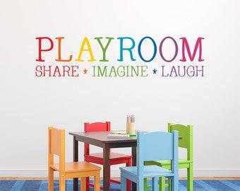 Rainbow Playroom Decal - Share Imagine Laugh - Children Wall Decal - Playroom Decor - Kid Wall Art