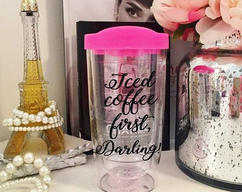 Iced Coffee First Darling Tumbler   Coffee Tumbler   Audrey Hepburn Inspired   Coffee Gift   Gift for Girls