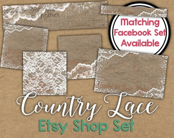 Lace Etsy Cover Banner Set - Country Lace Etsy Cover Image - Country Banner - Lace Etsy Cover - Country Lace Etsy Shop Icon - Cover Photo