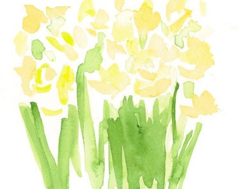 Yellow flower watercolor on paper