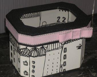 White, black and pink storage box