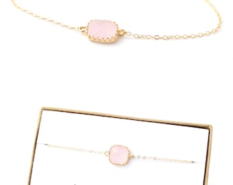 Blush Pink / Gold Single Square Bracelet  - Blush Pink Bridesmaid Bracelet - Blush Pink Jewelry - Blush Pink Bridesmaid Gift - BS1