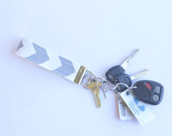 Grey Chevron Key Ring Fob