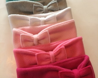 Fleece Ear Warmer, Head Band with Bow, Fleece Headband, Ear Warmer, Mix & Match Bows - Kids / Adult - Choose your color