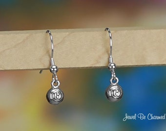 Tiny Sterling Silver Eight Ball Earrings Pierced Fishhook Solid .925