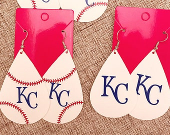 Kansas City Royals Inspired Baseball Team Earrings