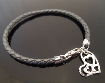 3mm Grey Braided Leather Bracelet With 925 Sterling Silver Hammered Heart Charm